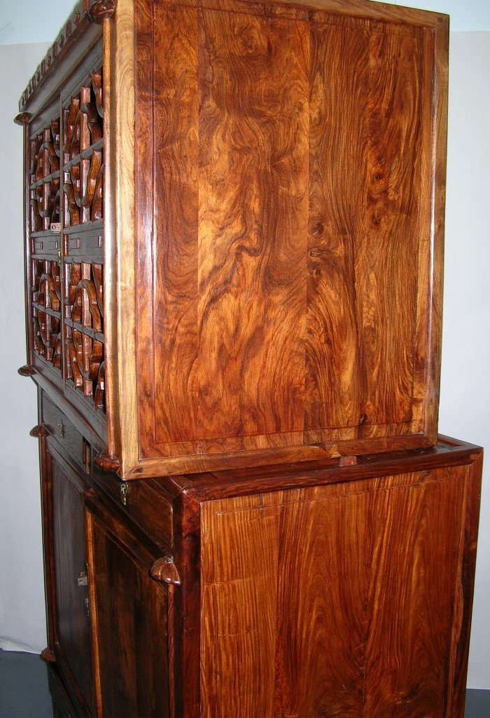 Huanghuali Wood Compound Cabinet with Latticework Doors - 9