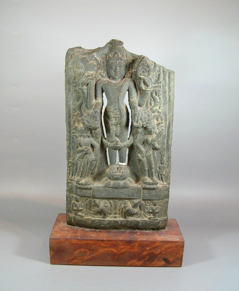 11th Century Indian Grey Limestone Buddhist Stele