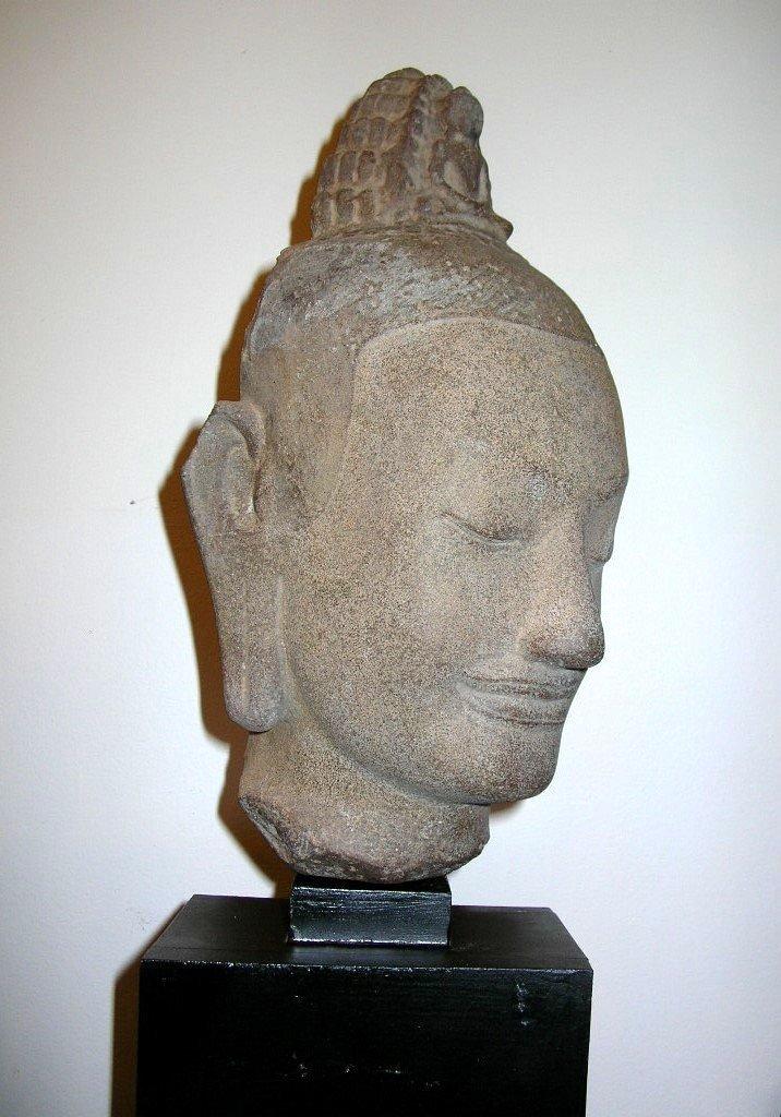 Unusual Khmer Sandstone Sculpture Buddha's Head