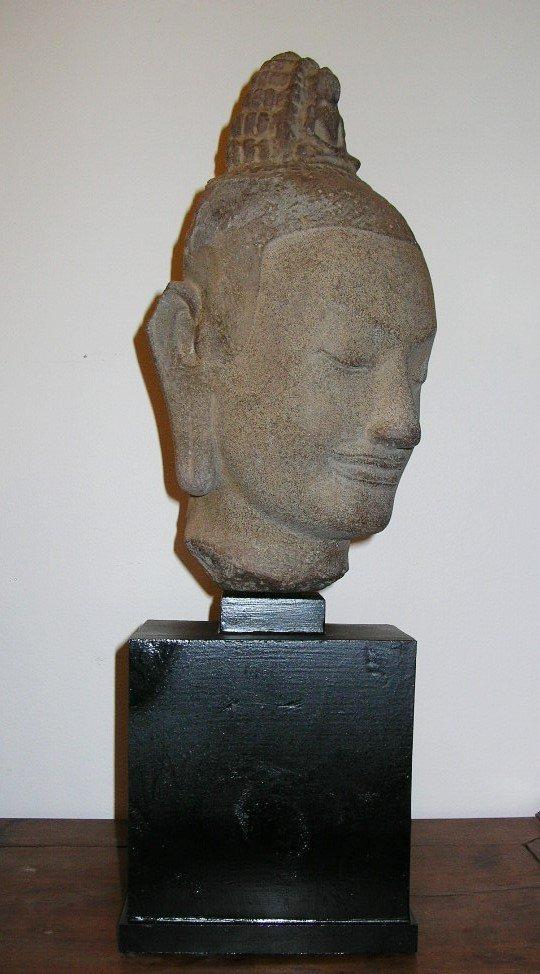 Unusual Khmer Sandstone Sculpture Buddha's Head - 2