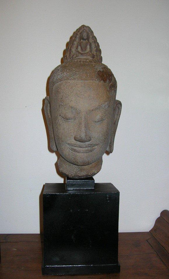 Unusual Khmer Sandstone Sculpture Buddha's Head - 3
