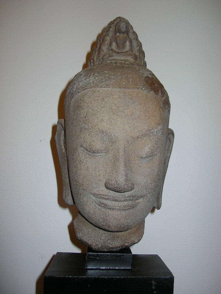 Unusual Khmer Sandstone Sculpture Buddha's Head - 4