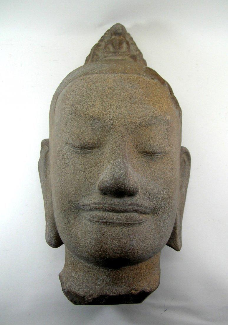 Unusual Khmer Sandstone Sculpture Buddha's Head - 5