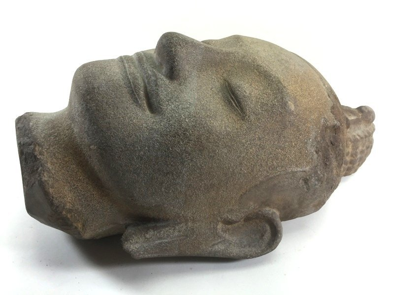 Unusual Khmer Sandstone Sculpture Buddha's Head - 6