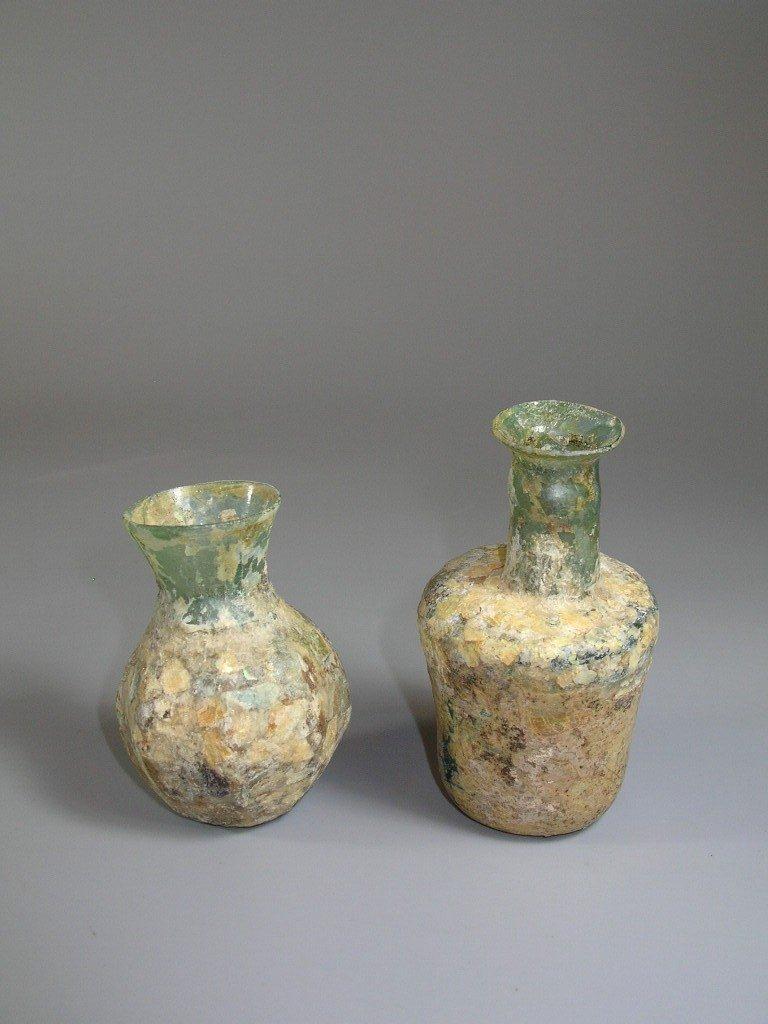 Two Ancient Roman Glass Bottles