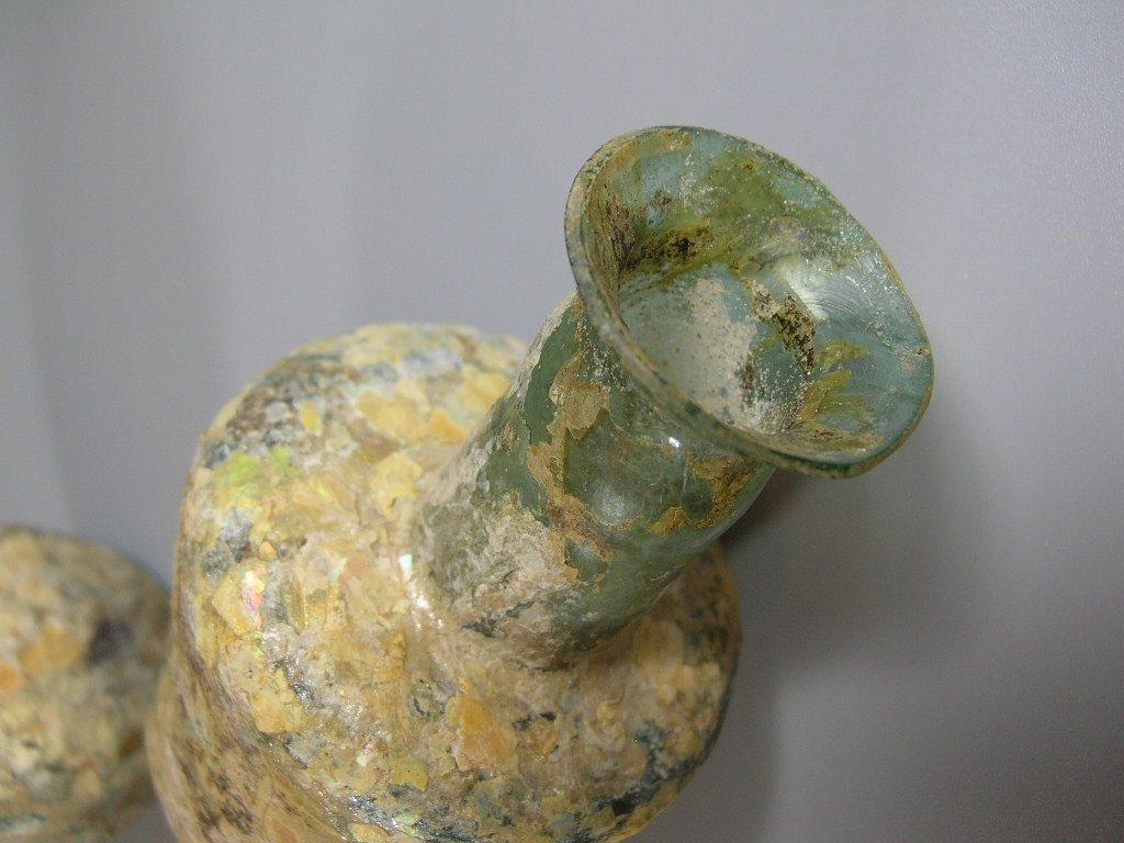 Two Ancient Roman Glass Bottles - 9