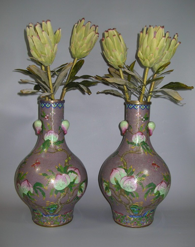 Large Pair of Antique Chinese Cloisonee Bottle Vases