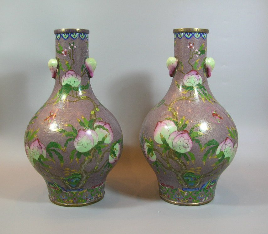 Large Pair of Antique Chinese Cloisonee Bottle Vases - 2