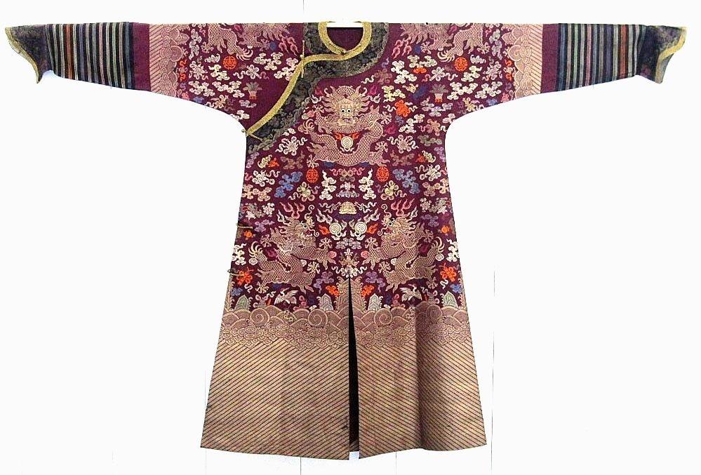 Imperial Purple Brocade Dragon Robe Jifu Late Qing Dy