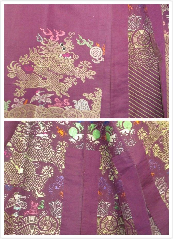 Imperial Purple Brocade Dragon Robe Jifu Late Qing Dy - 5