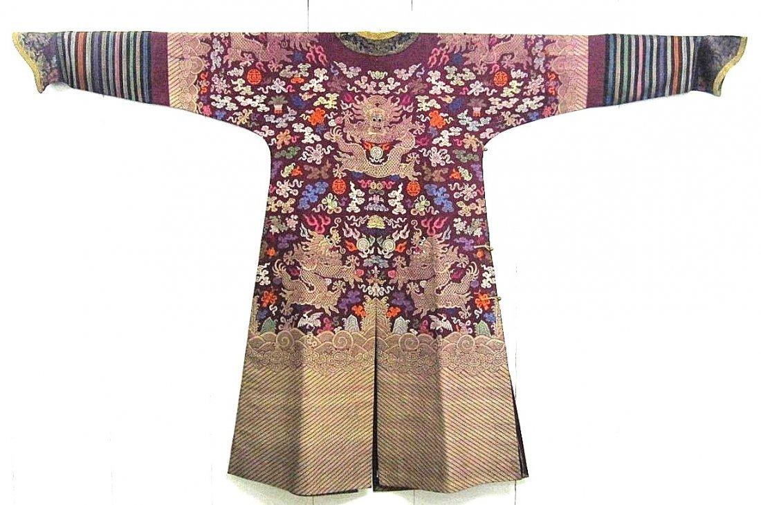 Imperial Purple Brocade Dragon Robe Jifu Late Qing Dy - 6