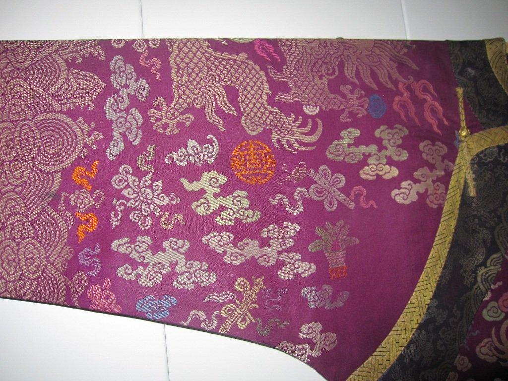 Imperial Purple Brocade Dragon Robe Jifu Late Qing Dy - 7