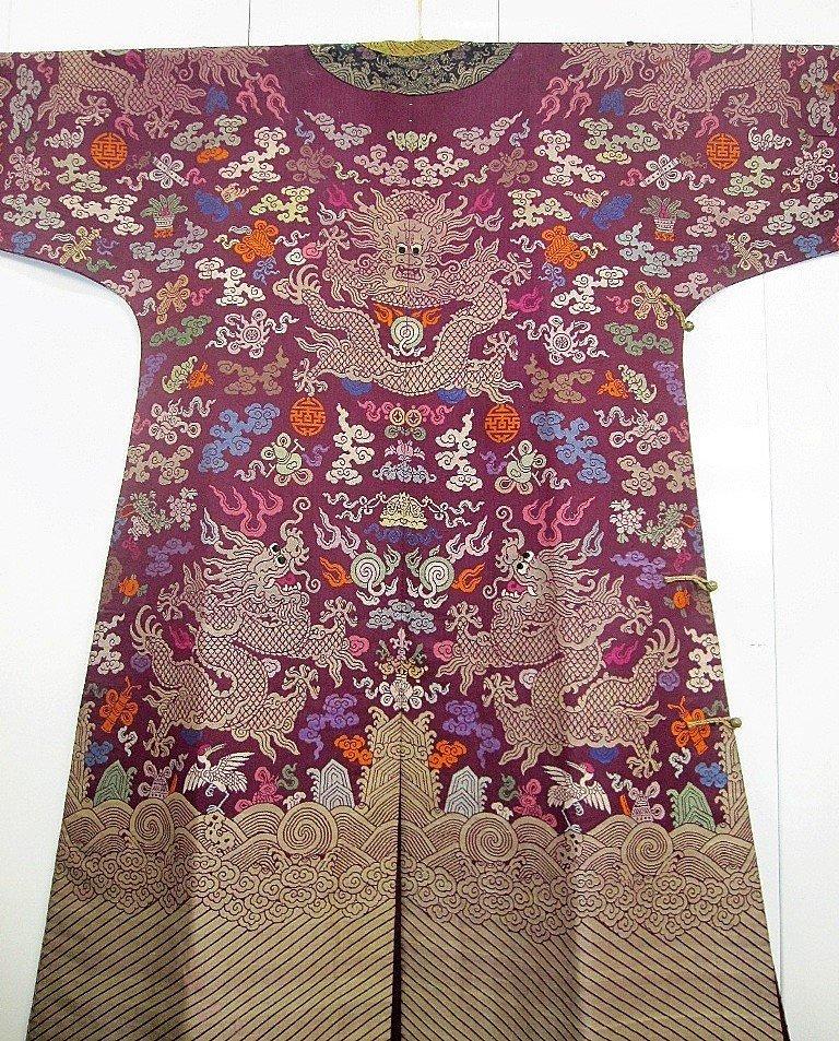 Imperial Purple Brocade Dragon Robe Jifu Late Qing Dy - 8