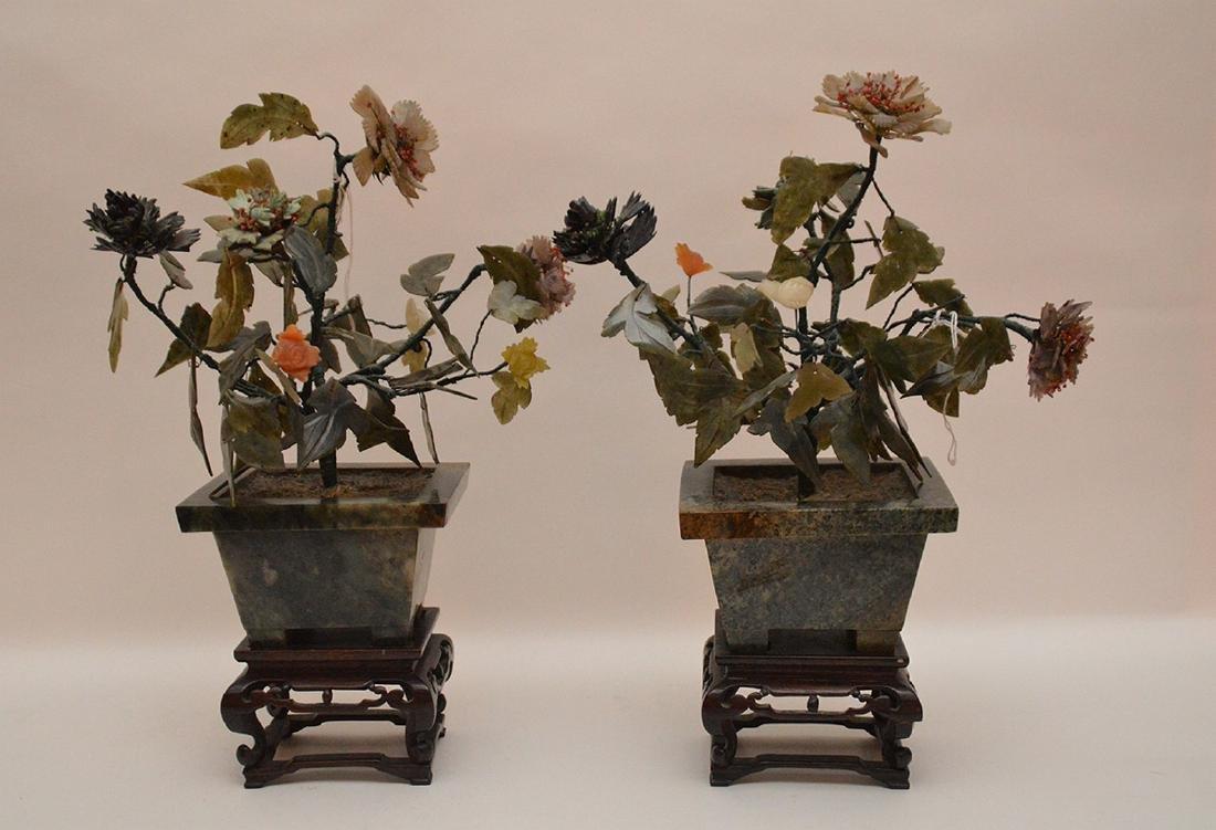 Two Antique Jade Trees raised on custom carved wood