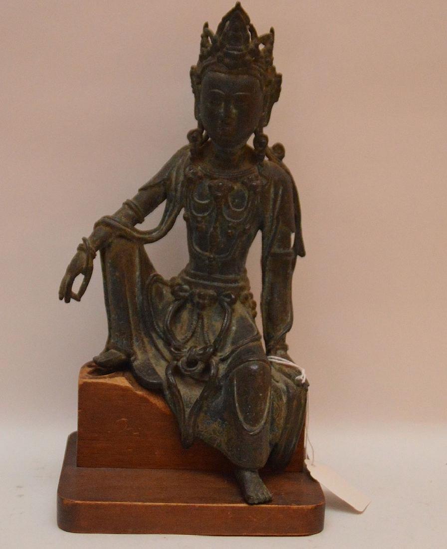 Early Chinese Bronze Seated Buddha on a custom wood