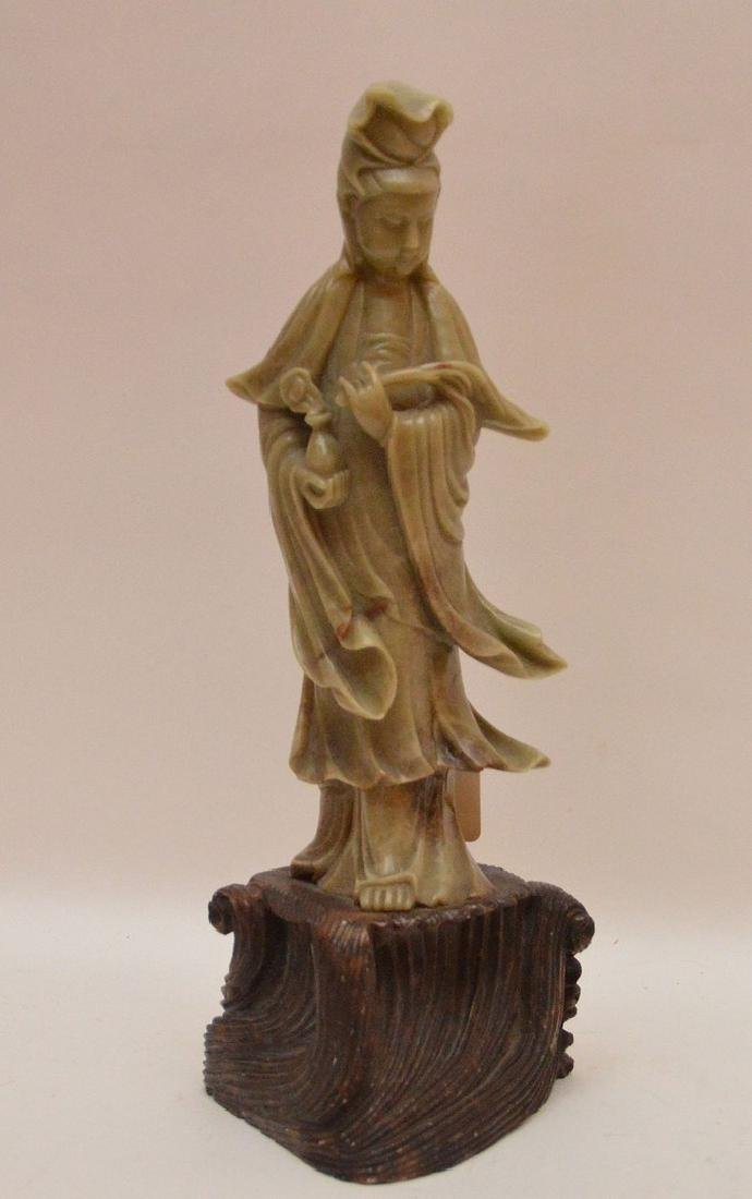"""Antique Carved Soap Stone Quan Yin.  Ht. 12 1/2"""""""