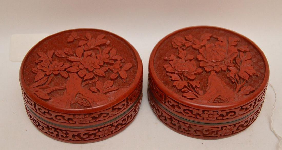 """Pair Antique Cinnabar Boxes. Dia. 4"""""""