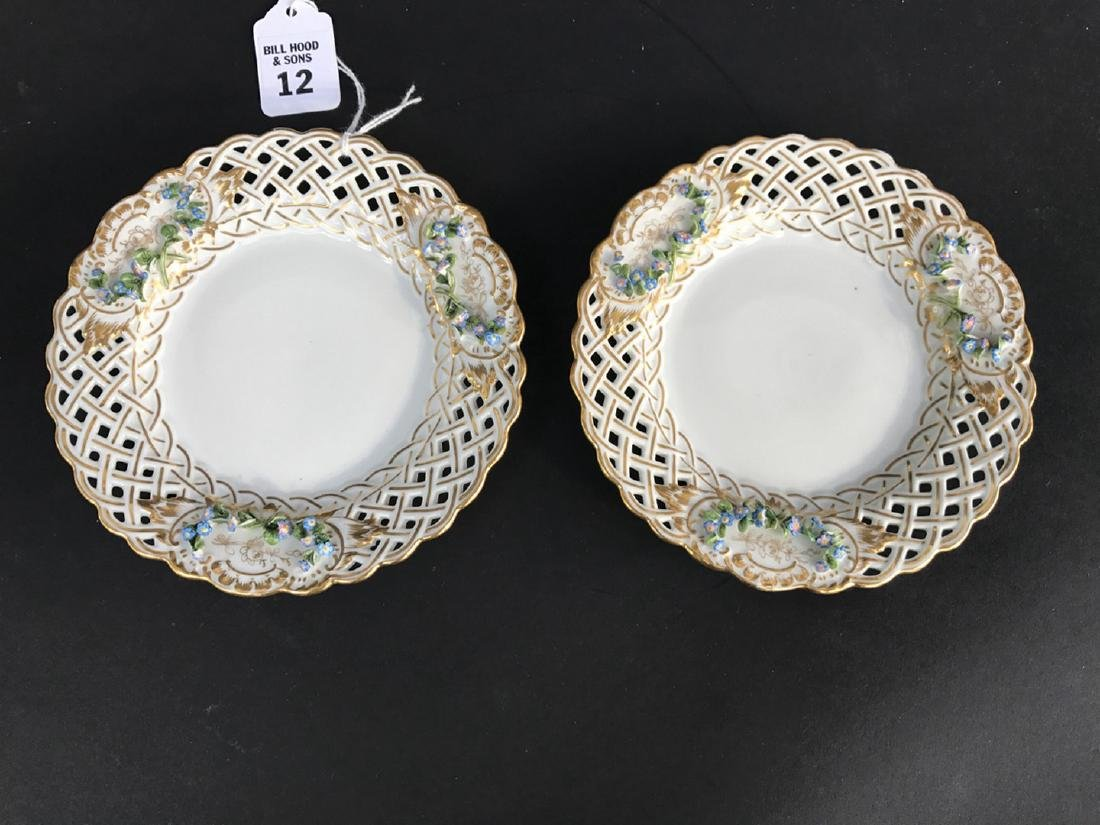Pair Meissen Porcelain Reticulated Plates with raised
