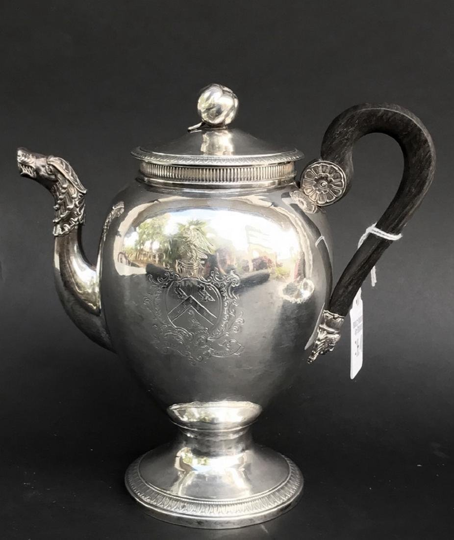 """French Empire Silver Tea Pot with figural spout. Ht. 8"""""""