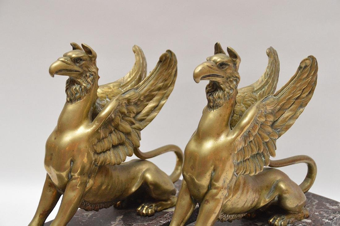 Pair Gilt Bronze Griffins on red marble bases.  Ht. 10 - 2