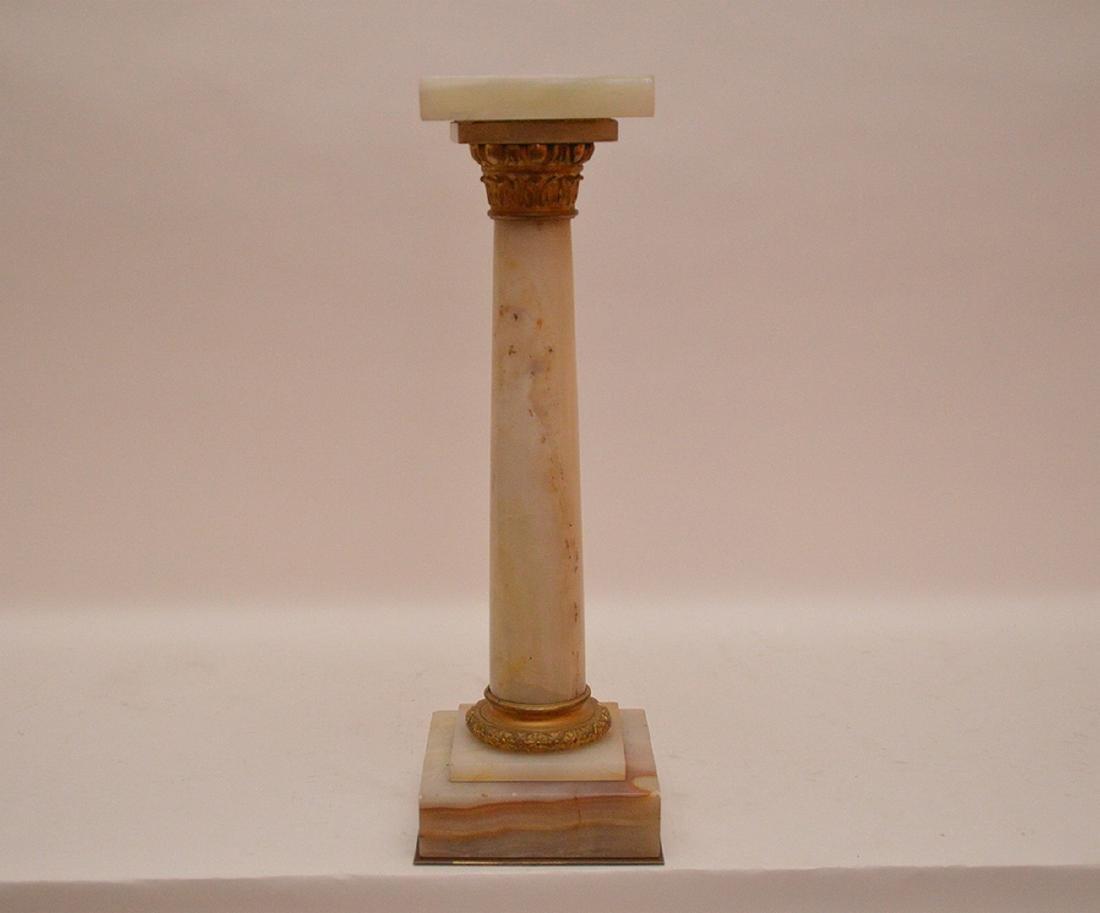 "Antique Gilt Bronze & Onyx Pedestal.  Ht. 15 1/2"""
