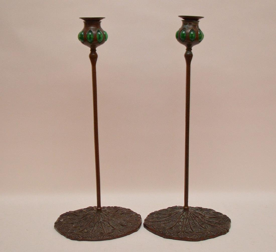 Pair Tiffany Studios Style Bronze & Glass Candle