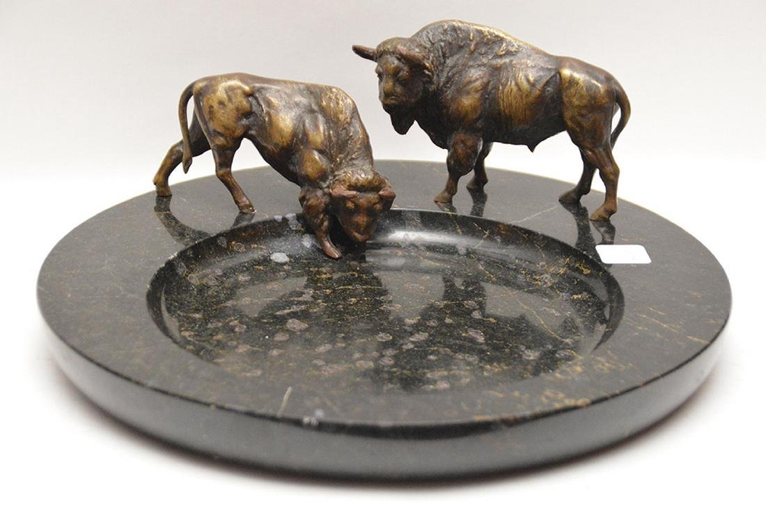"""Bronze & Marble Desk Stand with two buffalo. Ht. 6"""""""