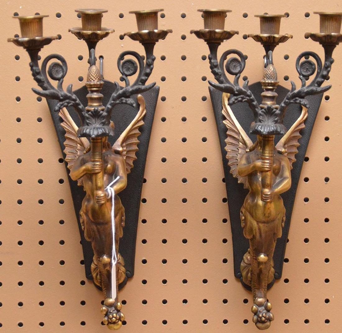 """Figural Bronze 3 Light Sconces.  Ht. 15"""""""