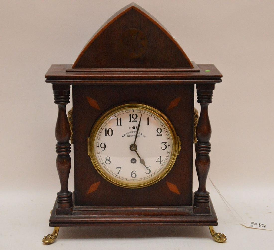 Inlaid Mahogany Shelf Clock with time and strike