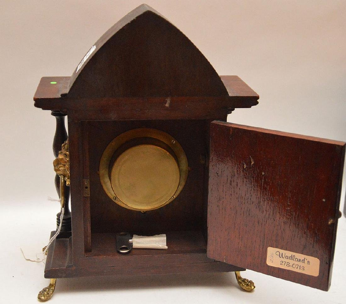Inlaid Mahogany Shelf Clock with time and strike - 4