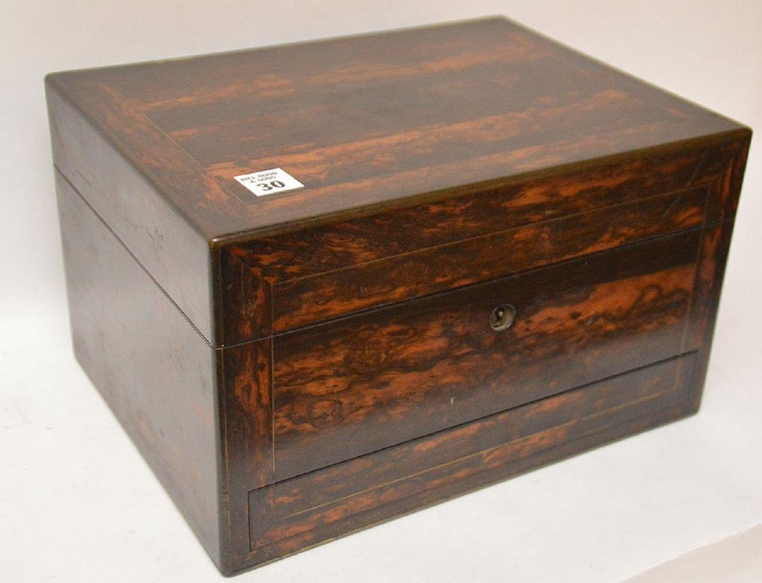 Antique Coramondel Wood Necessities Box.  The Boxes and