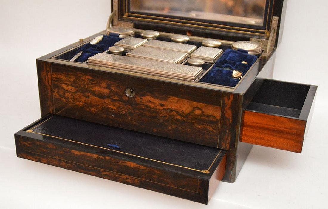 Antique Coramondel Wood Necessities Box.  The Boxes and - 4