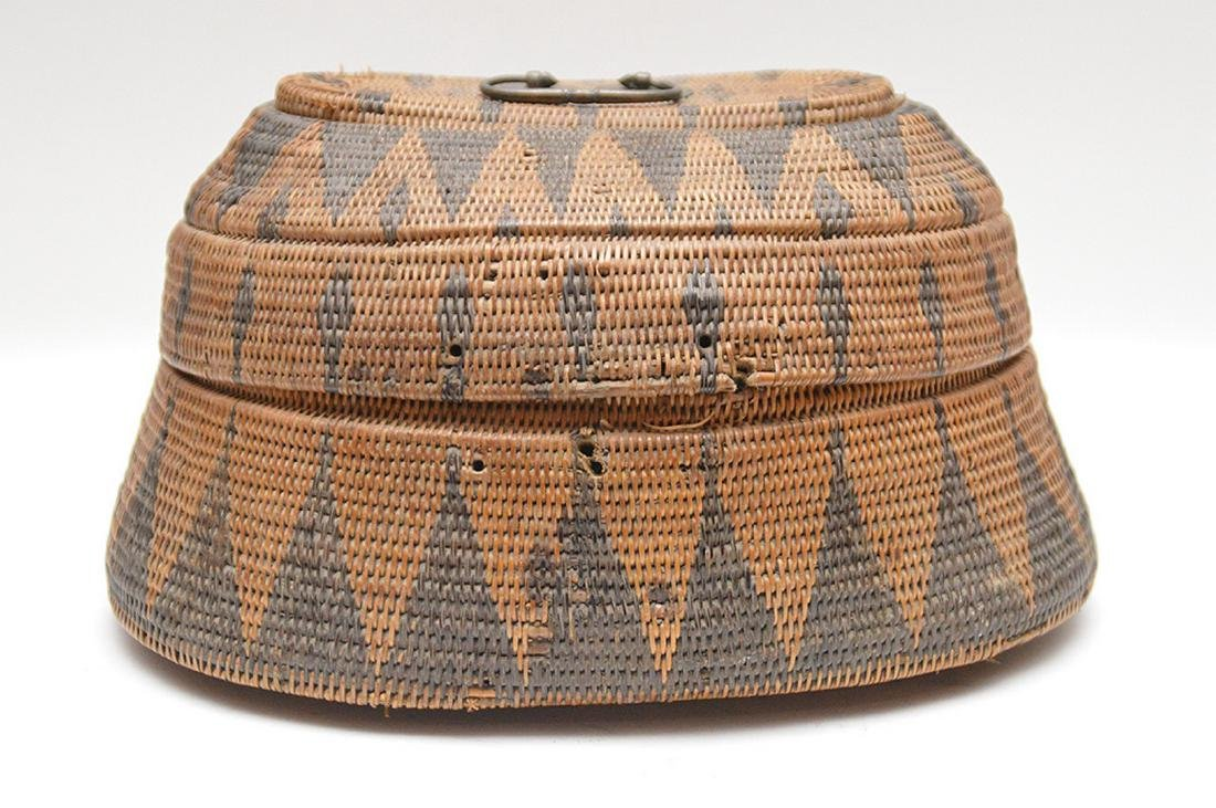 """Antique American Indian Hand Woven Basket..  Ht. 6"""" W."""