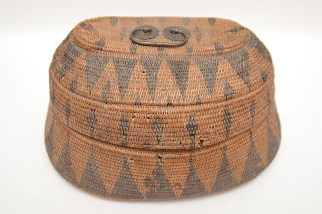 """Antique American Indian Hand Woven Basket..  Ht. 6"""" W. - 2"""