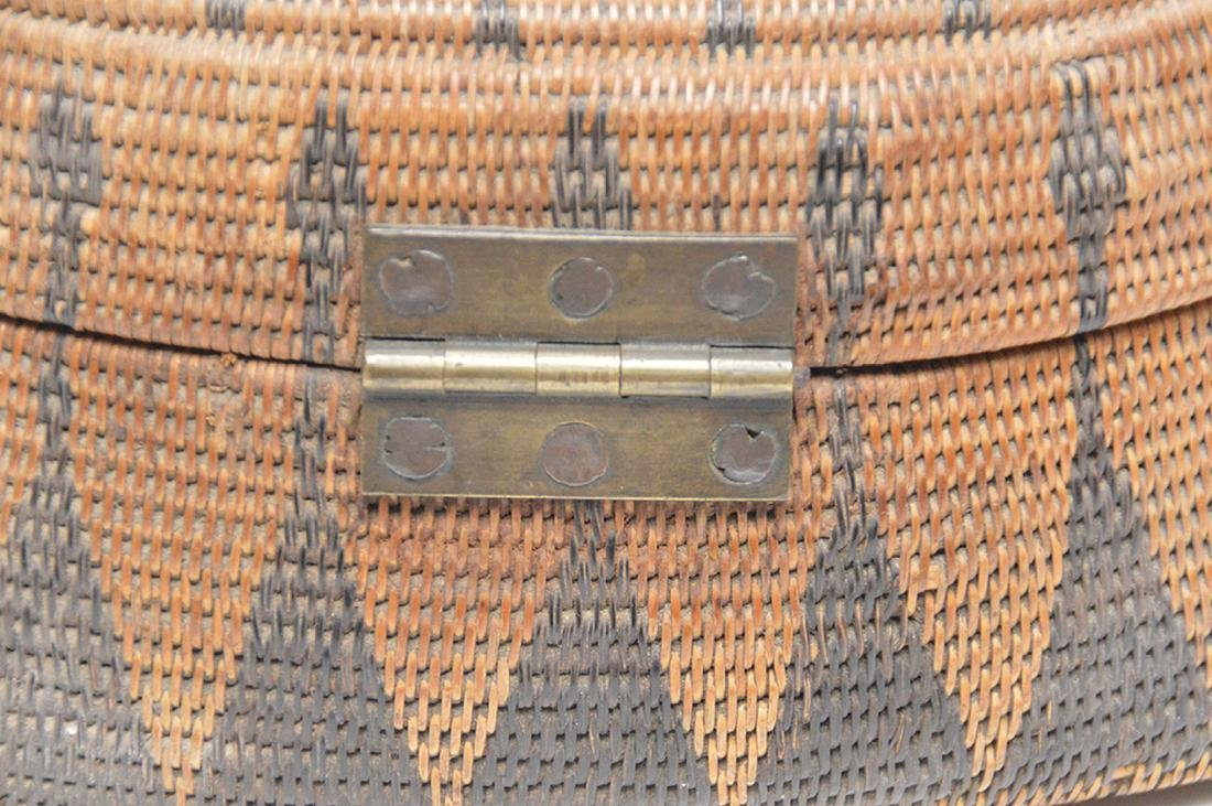 """Antique American Indian Hand Woven Basket..  Ht. 6"""" W. - 4"""