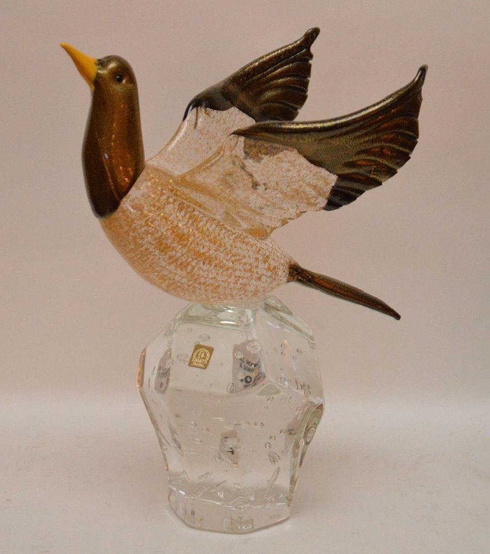 Murano Glass Bird with flecked gold decoration on a - 3