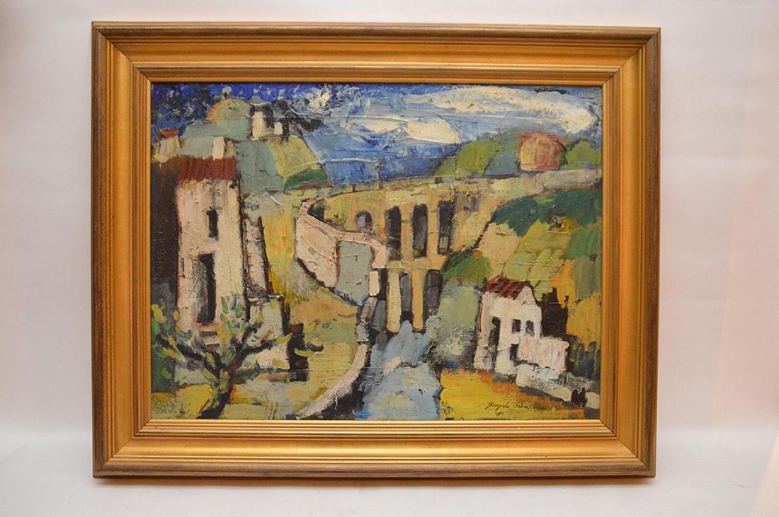 Gonzalo Sebastian de Erice oil on canvas, town scene,