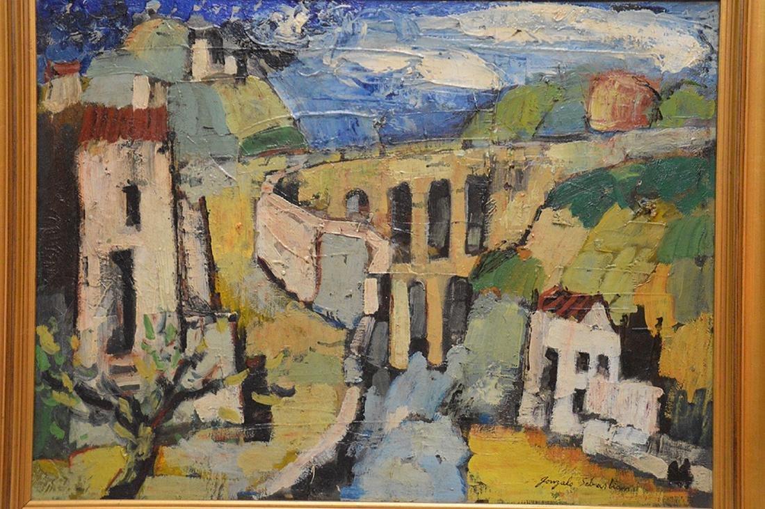 Gonzalo Sebastian de Erice oil on canvas, town scene, - 2