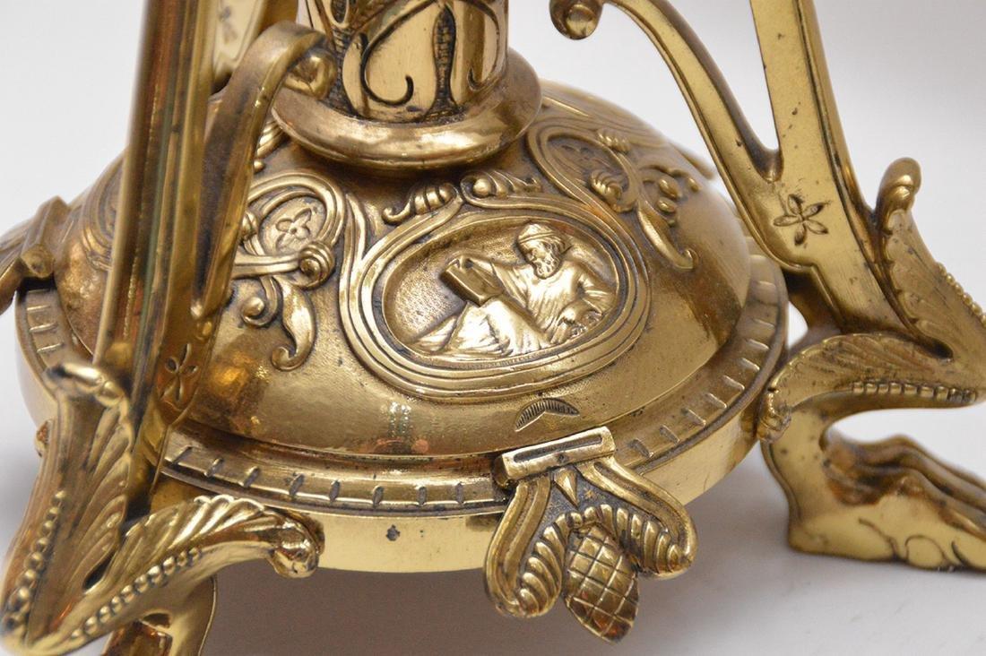 Pair 19th Century Bell Bronze 6 Branch Candelabras. - 3