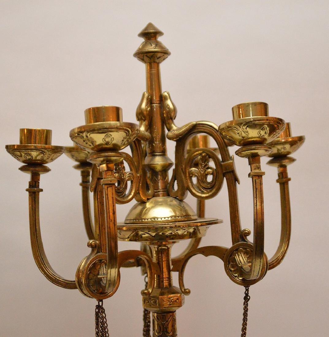 Pair 19th Century Bell Bronze 6 Branch Candelabras. - 4