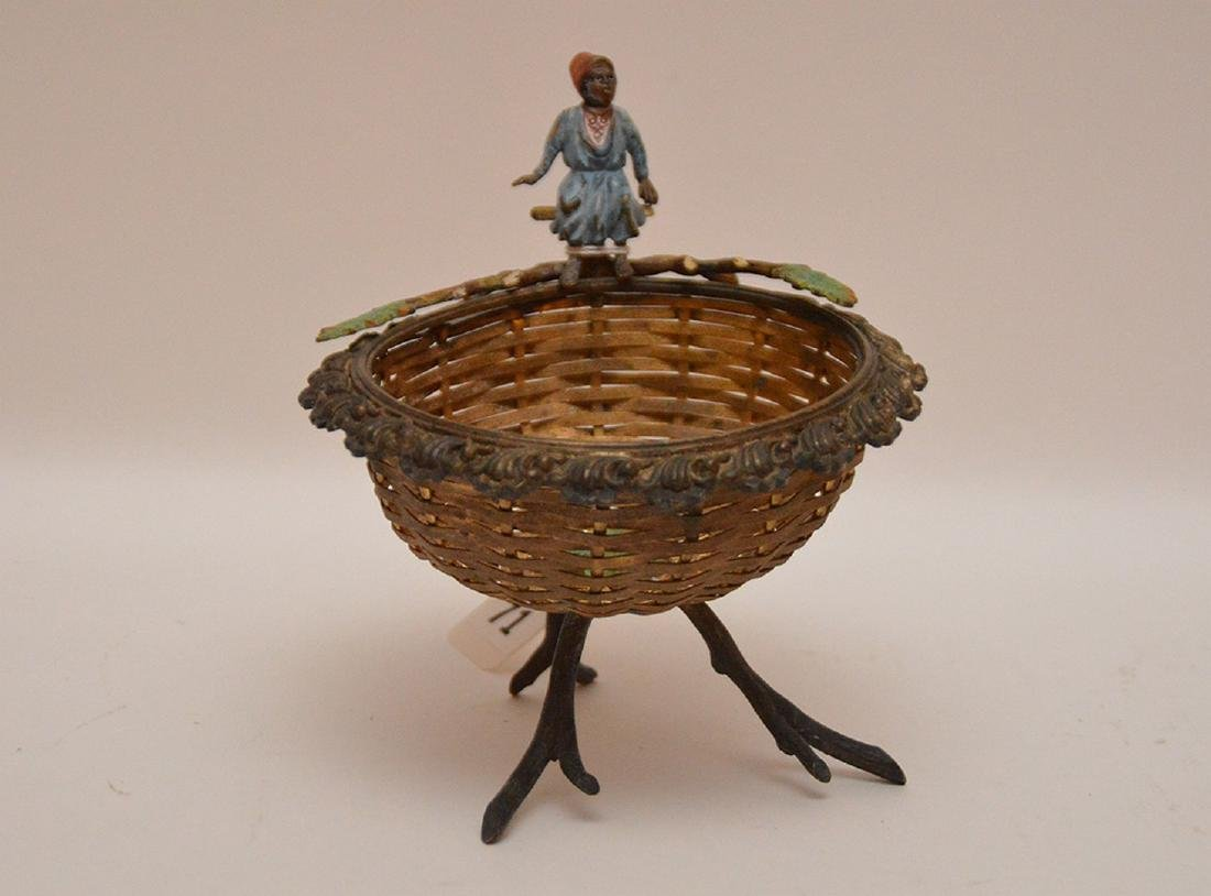 Austrian bronze footed woven basket with seated