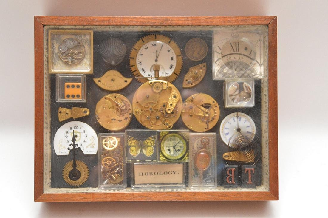 Assemblage of mounted watch parts in shadow box, 8 - 2