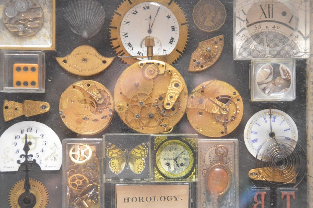 Assemblage of mounted watch parts in shadow box, 8 - 3