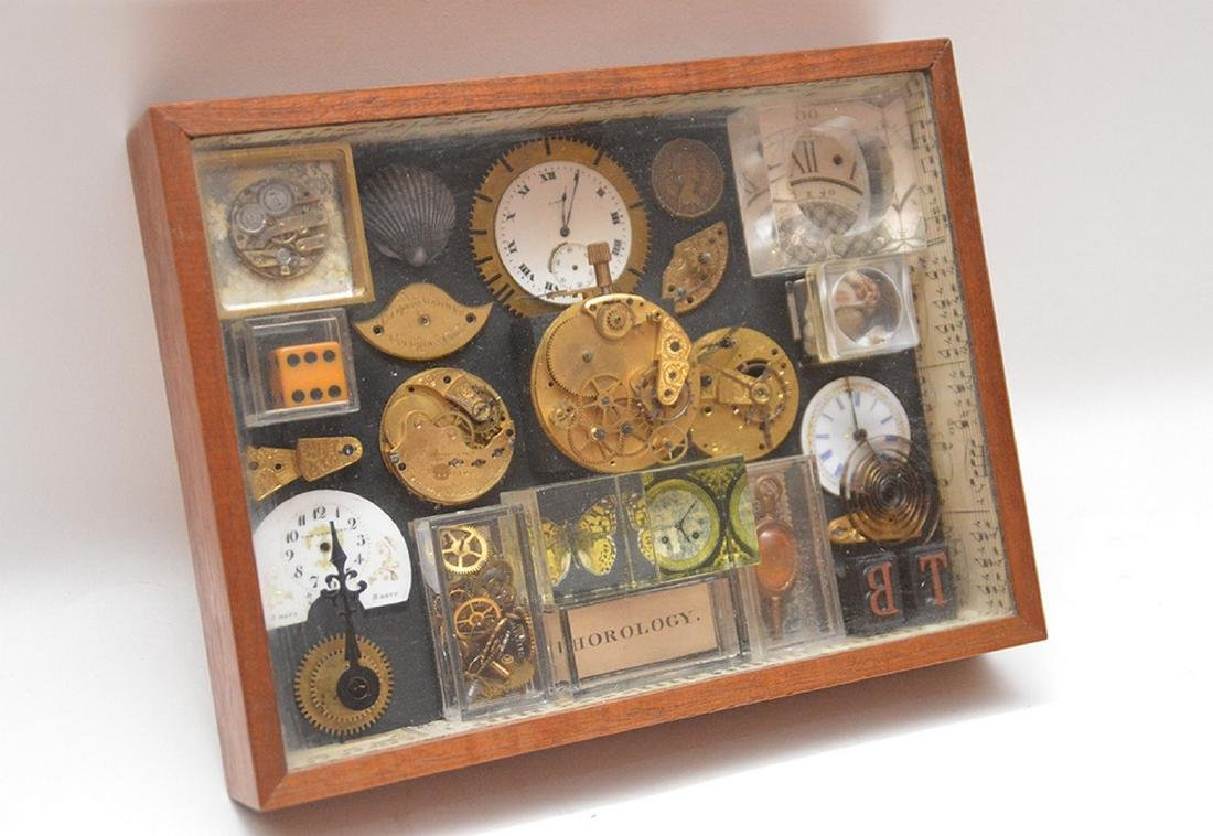 Assemblage of mounted watch parts in shadow box, 8 - 4