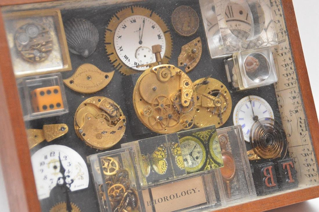 Assemblage of mounted watch parts in shadow box, 8 - 5