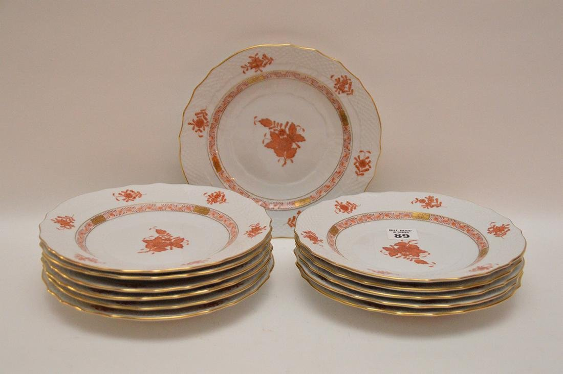 "Set of 12 Herend ""Chinese Bouquet"" rust plates, 7"