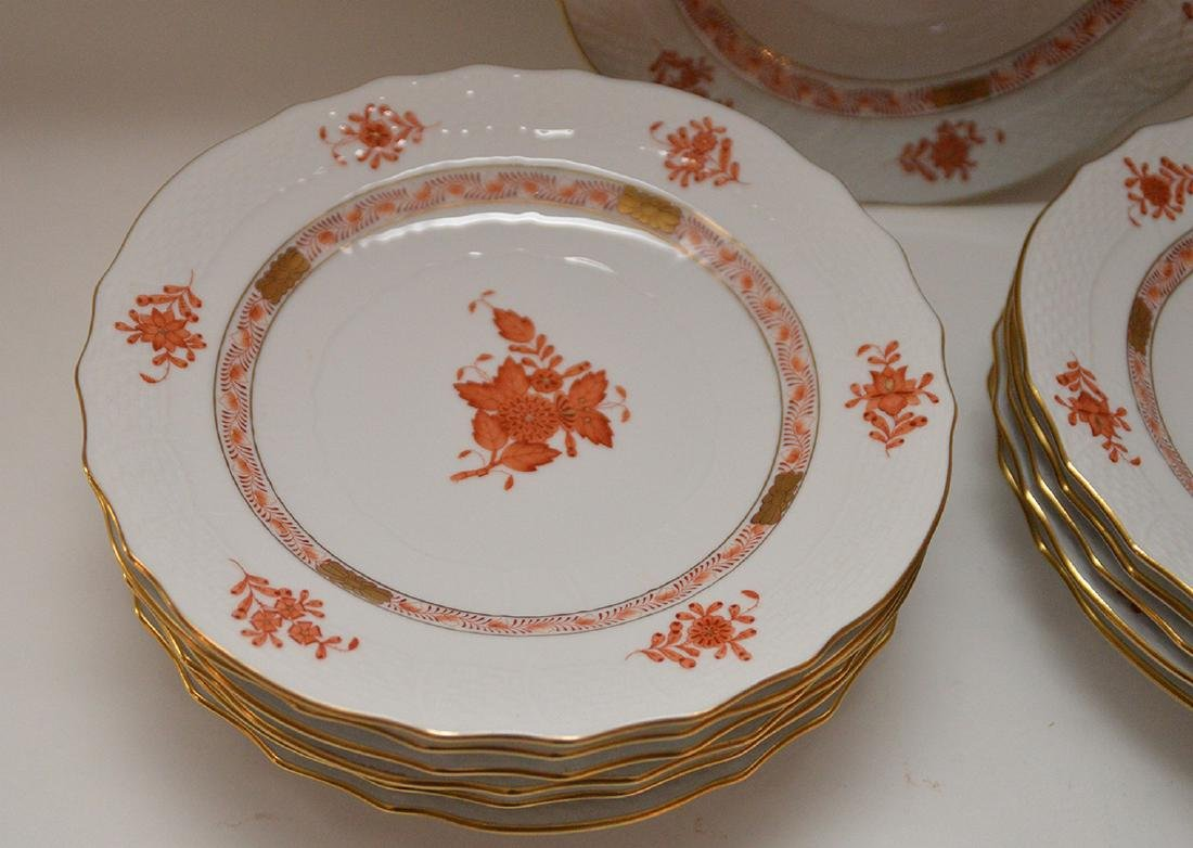 "Set of 12 Herend ""Chinese Bouquet"" rust plates, 7 - 2"
