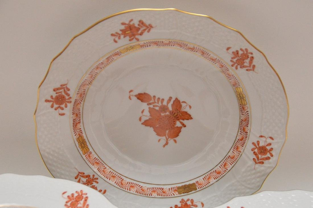"Set of 12 Herend ""Chinese Bouquet"" rust plates, 7 - 3"