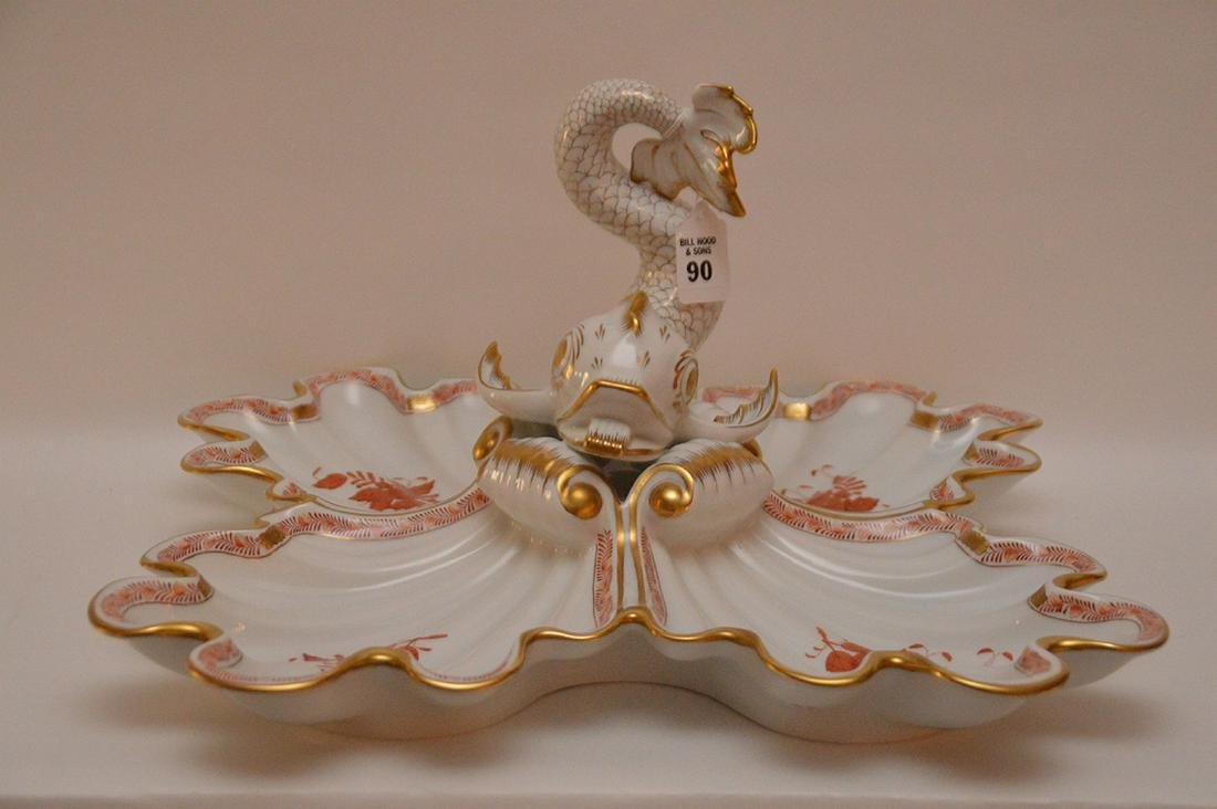 Large Herend porcelain divided dish with dolphin