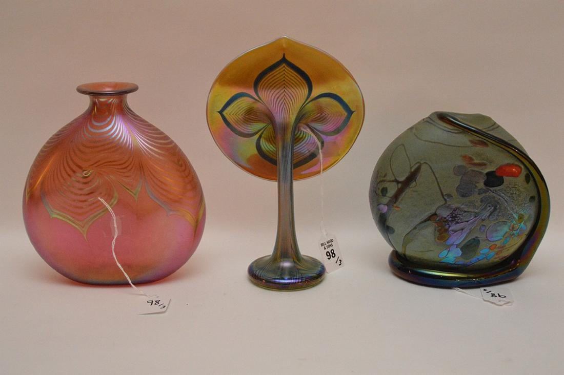 "3pc. Art glass, Jack In The Pulpit, 10""h, Blue vase (7 - 8"